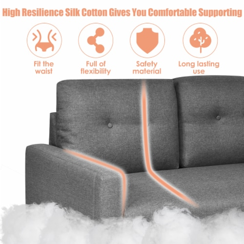 Costway Modern Loveseat Sofa 55'' Upholstered Chair Couch with Soft Cloth Cushion Grey Perspective: right