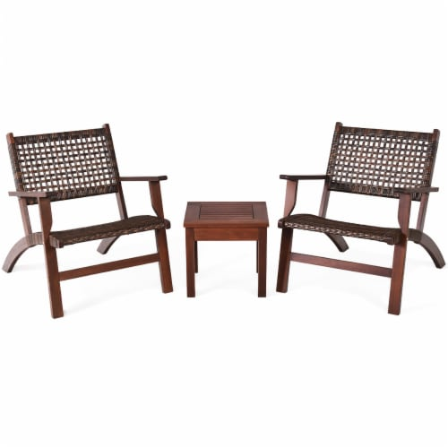 Gymax 3PCS Rattan Patio Chair & Table Set Outdoor Furniture Set w/ Wooden Frame Perspective: right