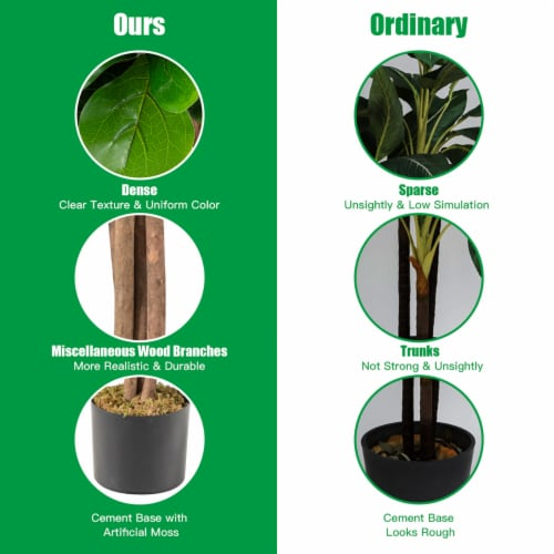 Costway 4ft Artificial Fiddle Leaf Fig Tree Indoor Outdoor Office Decorative Planter Perspective: right