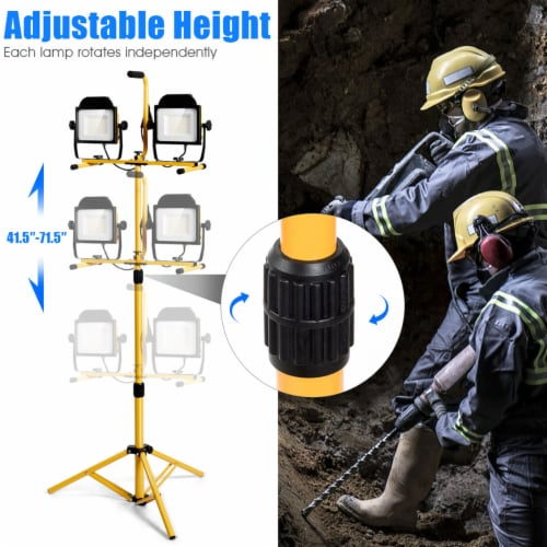 Costway 200W 20,000lm LED Dual-Head Work Light w/Adjustable Tripod Stand IP65 Waterproof Perspective: right