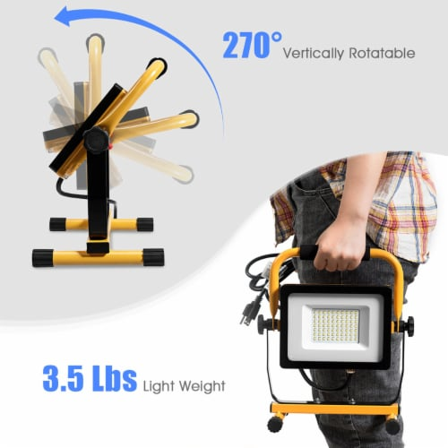 Costway 50W 5000lm LED Work Light Portable Outdoor Camping Job Site Lighting Waterproof Perspective: right