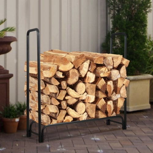 Costway 4 Feet Outdoor Steel Firewood Log Rack Wood Storage Holder for Fireplace Black Perspective: right
