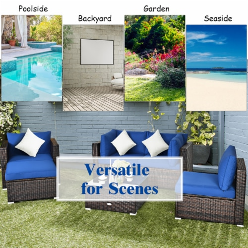 Costway 6PCS Patio Rattan Furniture Set Sofa Coffee Table Ottoman Navy Perspective: right