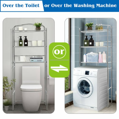 Costway 3-Tier Over The Toilet Bathroom Space Saver Metal Towel Rack Storage Organizer Perspective: right