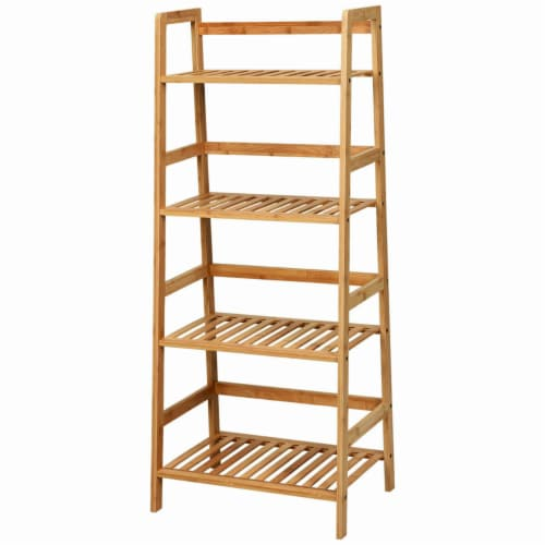Gymax 4-Tier Bamboo Ladder Shelf Multipurpose Plant Display Stand Storage Bookshelf Perspective: right