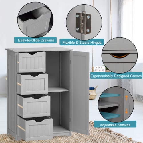 Costway Wooden 4 Drawer Bathroom Cabinet Storage Cupboard 2 Shelves Free Standing Perspective: right