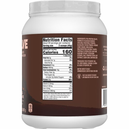 Evolve Double Chocolate Plant-Based Protein Powder Perspective: right