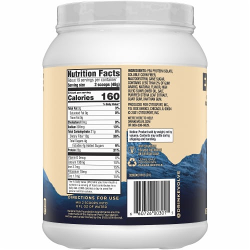 Evolve Plant-Based Ideal Vanilla Protein Powder Perspective: right