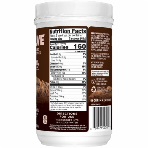 Evolve Classic Chocolate Protein Powder Perspective: right