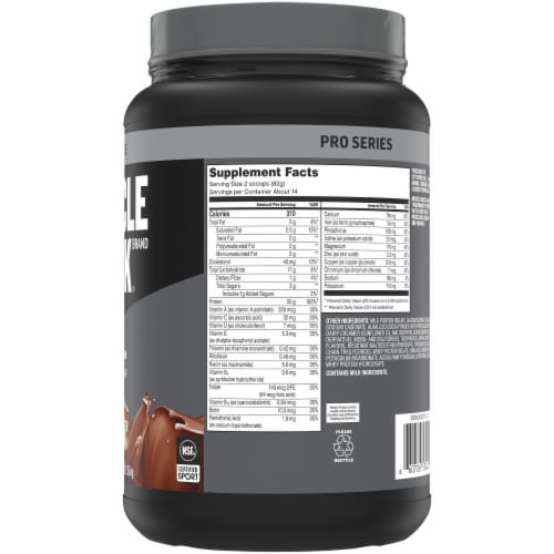 Muscle Milk Pro Series Knockout Chocolate Protein Powder Perspective: right
