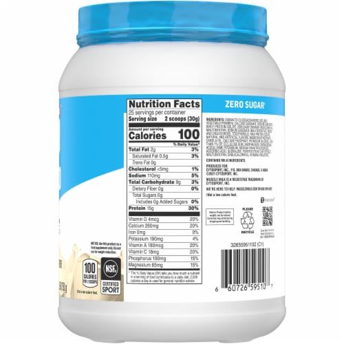 Muscle Milk Vanilla Creme Low-Fat Protein Powder Perspective: right