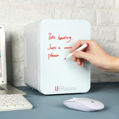 Uber Appliance Mini Fridge 4L personal and portable mini fridge with dry erase door Perspective: right