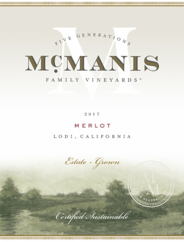 McManis Family Vineyards Merlot Red Wine Perspective: right