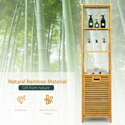 Gymax Bathroom Tilt-out Laundry Hamper Bamboo Tower Hamper w/3-Tier Shelves Perspective: right