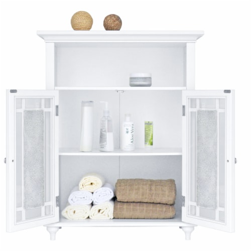 Elegant Home Fashions Wooden Bathroom Floor Cabinet Doors Windsor White ELG-529 Perspective: right