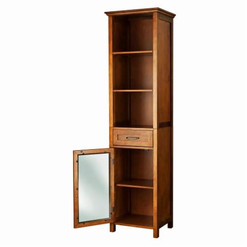 Elegant Home Fashions Wooden Bathroom Cabinet Linen & 1 Drawer Brown Oak ELG-544 Perspective: right
