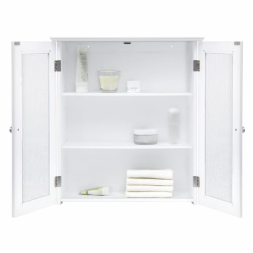 Elegant Home Fashions Bathroom Wall Cabinet 2 Glass Doors White Connor ELG-581 Perspective: right