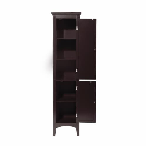 Elegant Home Fashions Wooden Bathroom Cabinet Standing Tall Unit Brown ELG-598 Perspective: right