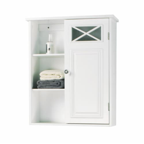 Elegant Home Fashions Dawson 1-Door Wall Cabinet in White Perspective: right