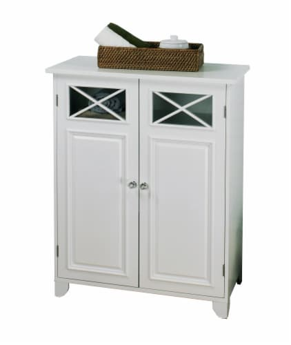 Elegant Home Fashions Wooden Bathroom Floor Cabinet 2 Doors White Dawson 6841 Perspective: right