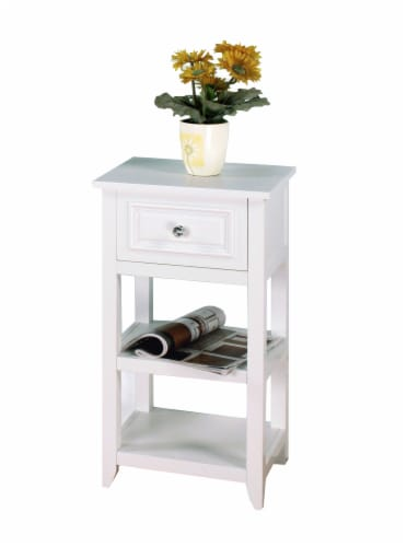 Elegant Home Fashions Wooden Bathroom Floor Cabinet With 1 Drawer White 6858 Perspective: right