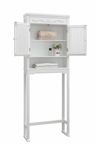 Elegant Home Fashions Bathroom Cabinet Over Toilet 2 Doors & Shelf White 7008 Perspective: right