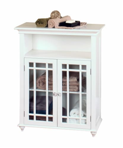 Elegant Home Fashions Wooden Bathroom Floor Cabinet 2 Doors Neal White 7466 Perspective: right