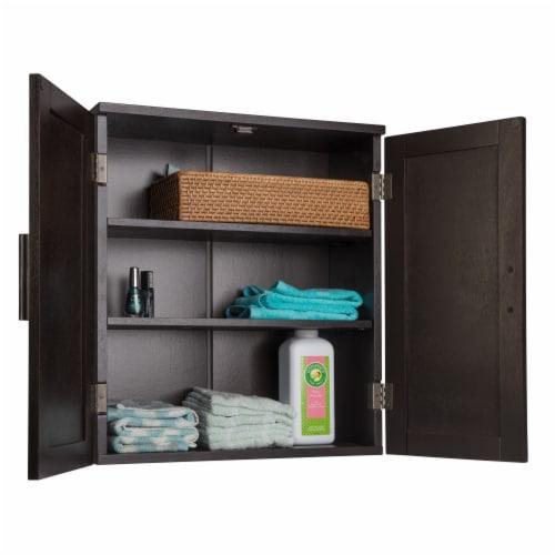 Elegant Home Fashions Wooden Bathroom Wall Cabinet 2 Doors Espresso Catalina 7695 Perspective: right