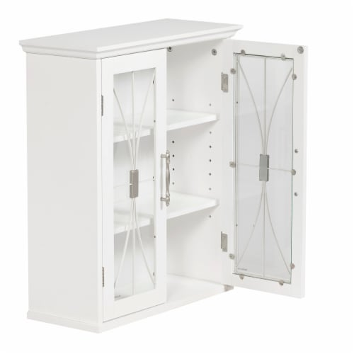 Elegant Home Fashions Delaney 2-Door Wall Cabinet in White Perspective: right