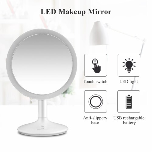 Elegant Home Fashions Bathroom LED Mirror Standing Touch Switch USB TB-1677 Perspective: right