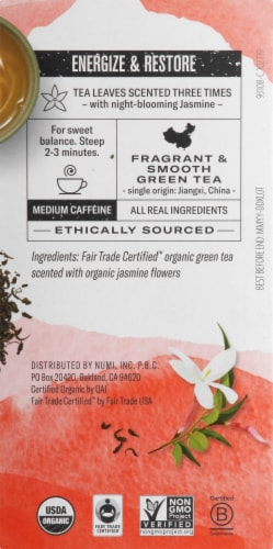 Numi Organic Jasmine Green Tea Bags 18 Count Perspective: right
