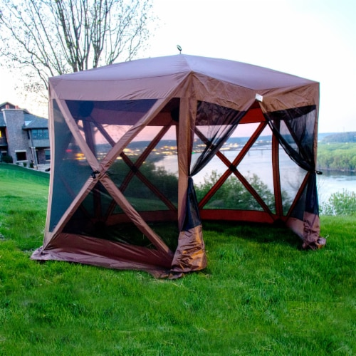 Backyard Expressions Luxury Hub Style 12 Ft. W x 12 Ft. D Metal Pop-Up Gazebo Perspective: right
