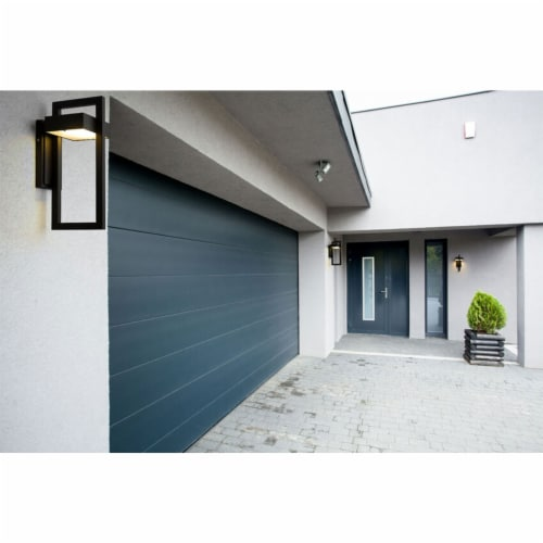Z-Lite 566M-BK-LED Luttrel 15-Inch Modern Outdoor Metal Sconce Wall Light, Black Perspective: right