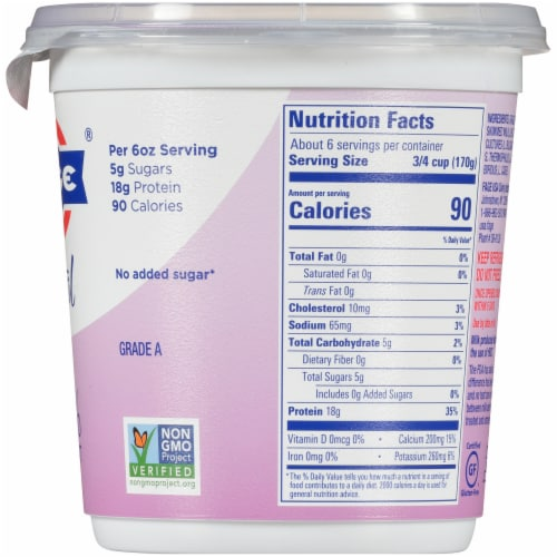 Fage Total 0% Milkfat Plain Greek Yogurt Perspective: right