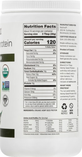 Nutiva Organic Superfood Hi-Fiber Hemp Protein Perspective: right