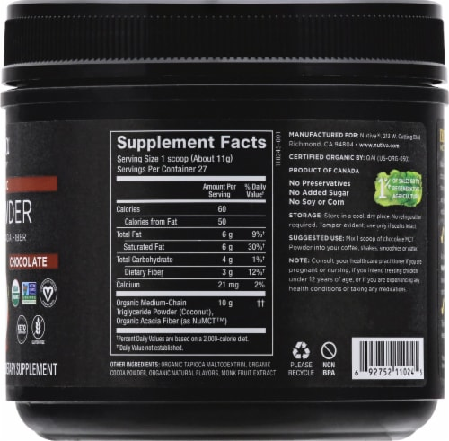 Nutiva MCT Powder with Prebiotic Acacia Fiber Chocolate Dietary Supplement Perspective: right