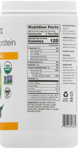 Nutiva Organic Vanilla Hemp Seed Protein Powder Perspective: right