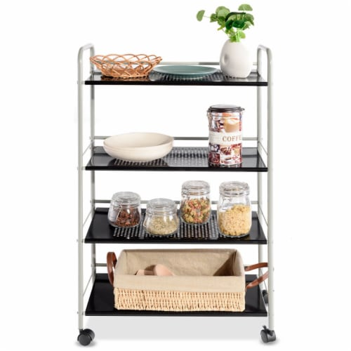 Costway 4 Tiers Rolling Storage Cart Utility Trolley Organizer Kitchen Multifunction Perspective: right