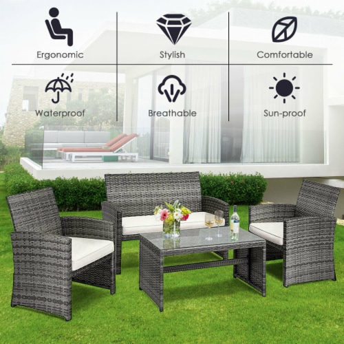 Costway 4 Pc Rattan Patio Furniture Set Garden Lawn Sofa Cushioned Seat Mix Gray Wicker Perspective: right
