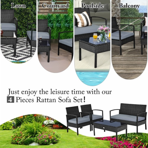 Costway 4PCS Outdoor Patio Rattan Furniture Set Cushioned Sofa Coffee Table Garden Deck Perspective: right