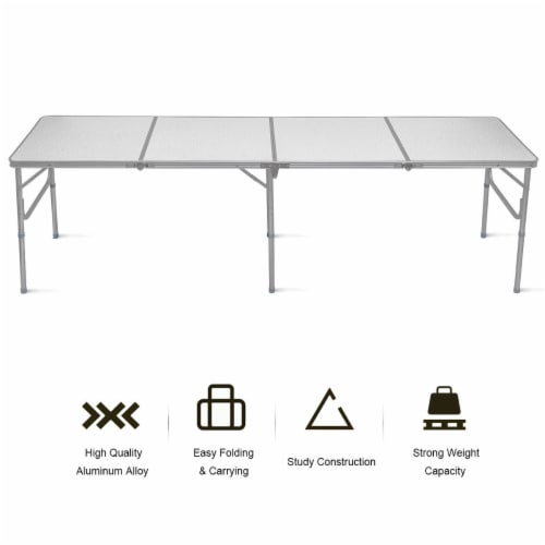 Costway 8FT Aluminum Folding Picnic Camping Table Lightweight In/Outdoor Garden Party Perspective: right