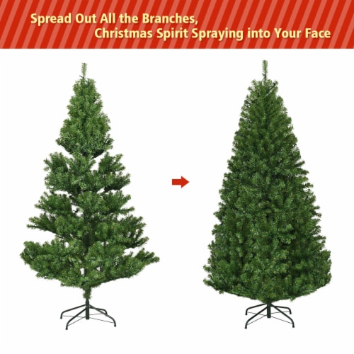 Costway 6Ft Pre-Lit Artificial Christmas Tree Hinged 350 LED Lights Perspective: right