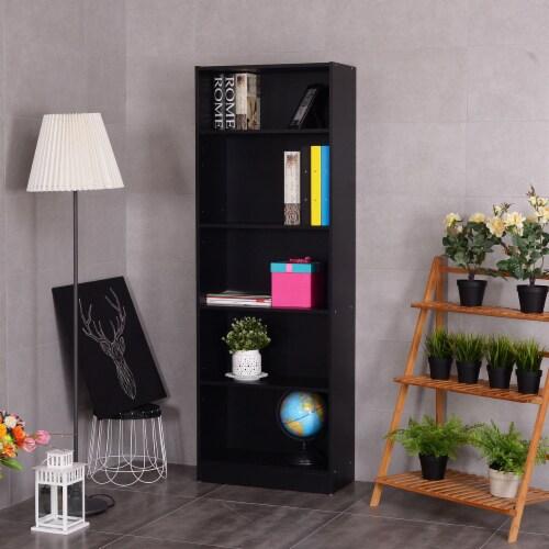 Costway Modern 5 Tier Shelf Bookcase Storage Media Storage Organization Cabinet Black Perspective: right