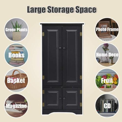 Costway Accent Storage Cabinet Adjustable Shelves Antique 2 Door Floor Cabinet Black Perspective: right
