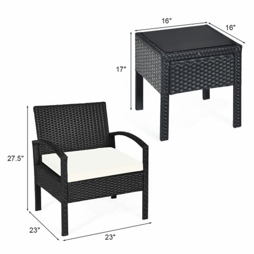 Costway 3PCS Patio Rattan Furniture Set Table & Chairs Set with Coushions Outdoor Perspective: right