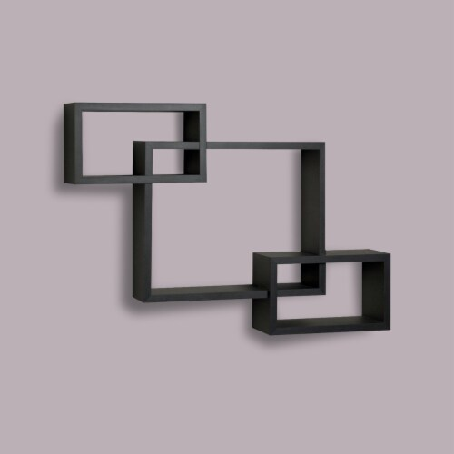 Saltoro Sherpi Intersecting Rectangle Shape Wooden Floating Wall Shelf, Black Perspective: right
