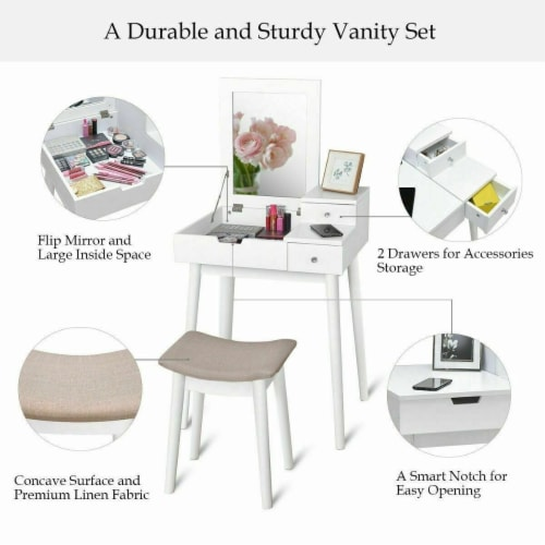 Costway Vanity Dressing Table Flip Desk Furniture Stool 2 White Perspective: right