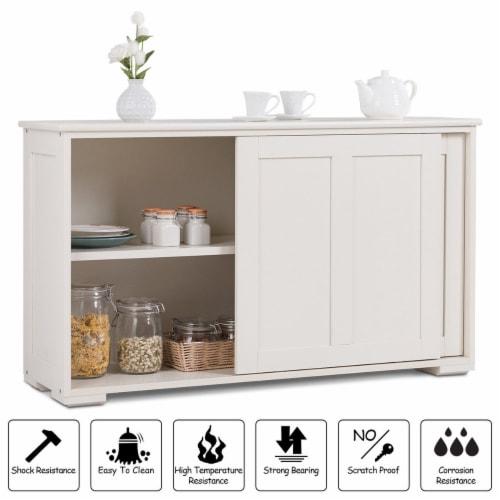Costway Kitchen Storage Cabinet Sideboard Buffet Cupboard Wood Sliding Door Pantry Perspective: right
