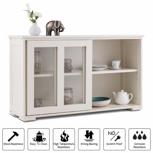 Costway Storage Cabinet Sideboard Buffet Cupboard Glass Sliding Door Pantry Kitchen Off-White Perspective: right