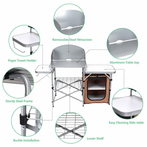Costway Foldable Camping Table Outdoor BBQ Portable Grilling Stand w/Windscreen Bag Perspective: right